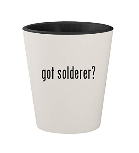 got solderer? - Ceramic White Outer & Black Inner 1.5oz Shot Glass