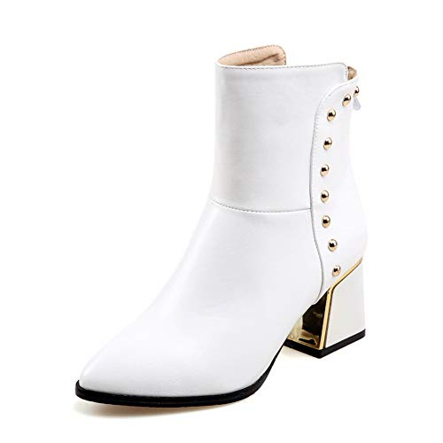 Urethane Womens Boots SXC02767 Solid Studded White AdeeSu Boots Oqvcp