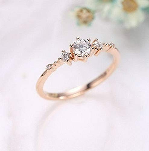 Rhame Women Rose Gold Plated White Topaz Jewelry Wedding Proposal Ring Gift Size5-10 | Model RNG - 21627 | 5