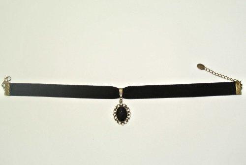 Black-Elegant-Retro-Gothic-Lolita-Rhinestone-Velvet-Lace-Pendant-Necklace-Choker