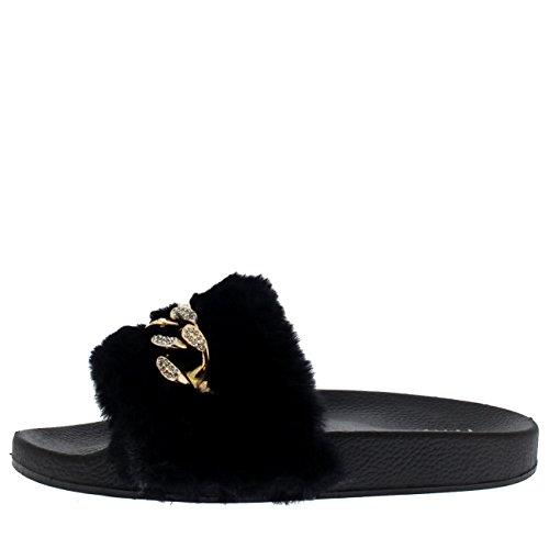Plano Correa Mujer Moda Descarado Eva Punta Verano Negro Mullido Sola Sandalias Abierta Cadena Elegante 8pqAU