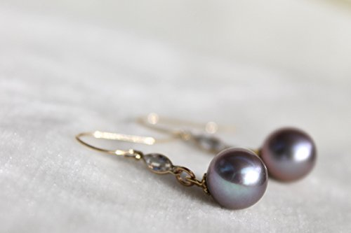 Pearl earrings with solid gold hooks, very light blue topaz marquises set in 18K gold and wonderful round lavender natural pearls-Free expedited shipping! ()