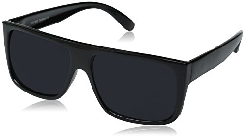 zeroUV - Classic Old School Eazy E Square Flat Top OG Loc Sunglasses (2-Pack Black) (For Men Square Sunglasses)
