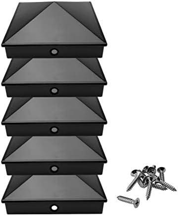 Rostfrei Abdeckkappe//Zierkappe | 5, Silber mit Edelstahl-Schrauben Pyramide Pfostenkappen 9x9 cm aus hochwertigem Aluminiumguss 5er // 10er Pack pulverbeschichtet in 3 Farben