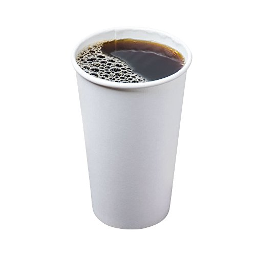 [16 oz. | 100 Pack] Coffee Cups White Disposable Paper Hot Drink Cup, BPA Free (Best Disposable Cups For Hot Drinks)