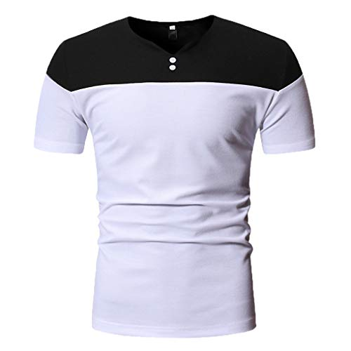 YKARITIANNA Mens Fashion Short Sleeve Henry Painting Large Size Casual Top Blouse Shirts