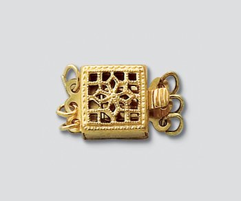 WireJewelry Gold Filled Clasp Filigree Square 3 Strand 8.5mm - Pack Of 1