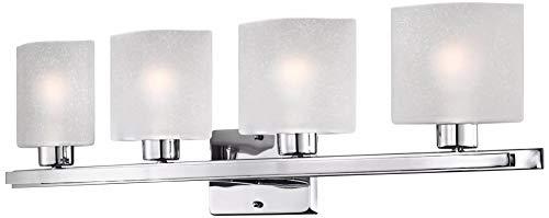Possini Euro Linen Glass 32'' Wide Chrome 4-Light Bath Light - Possini Euro Design by Possini Euro Design (Image #3)