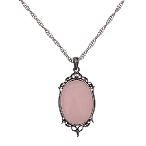 (DragonWeave Antique Silver Rose Quartz Gemstone Cabochon Pendant on Fancy Rope Chain Necklace, 24