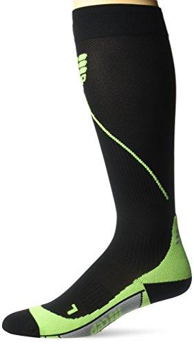 CEP Men's Progressive+ Compression Run Socks 2.0 for Running, Cross Training, Fitness, Calf Injuries, Shin Splits, Recovery, and Athletics, 20-30mmHg Compression, Black/Green, Size 3