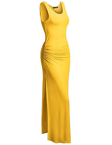 PU&PU Robe Aux femmes Gaine Street Chic,Couleur Pleine Col en V Maxi Polyester , yellow-s , yellow-s