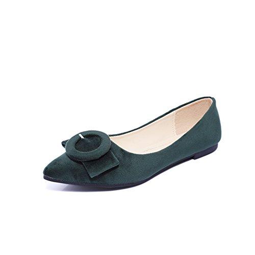 Hebilla de cinturón Pisos puntiagudos de superficiales en la primavera en Europa y América/Joker plana zapatos mujer/Zapatos de Doug C