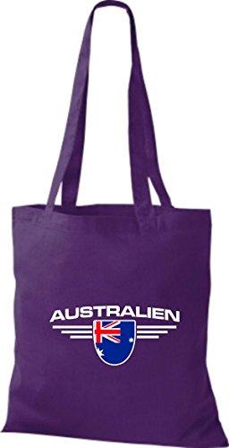 Bolsa Tela Land Lila De Morado Emblema Australiano Países Shirtstown panxBp