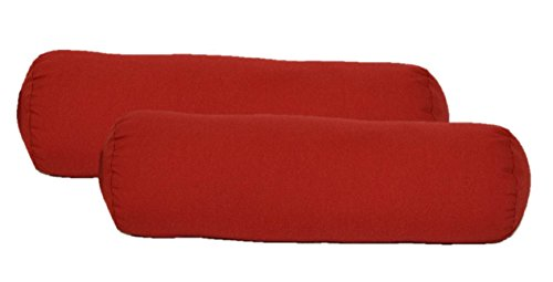 Set of 2 Indoor / Outdoor Decorative Bolster / Neckroll Pillows - Solid Red