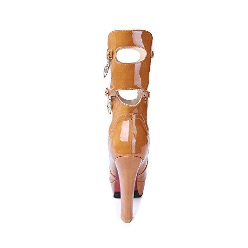 Tacco Delle Scarpe Sandali in Polpaccio Grosso Alto Le Cuoio Giallo Piattaforma Di Toe Stivali Metà Peep Estivo Della Abito Gladiatore Donne Pelle Pompe Ciondolo Ritagli 8WqIA