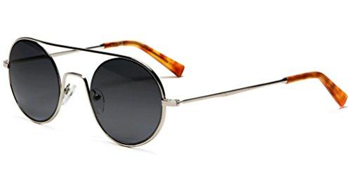 Samba Shades Round Janice Lennon Modern Vintage Fashion Sunglasses with Shiny Silver Frame, Smoke - Subglasses Vintage