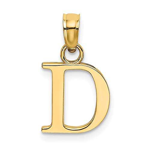 14k Yellow Gold D Block Initial Monogram Name Letter Pendant Charm Necklace Fine Jewelry Gifts For Women For Her