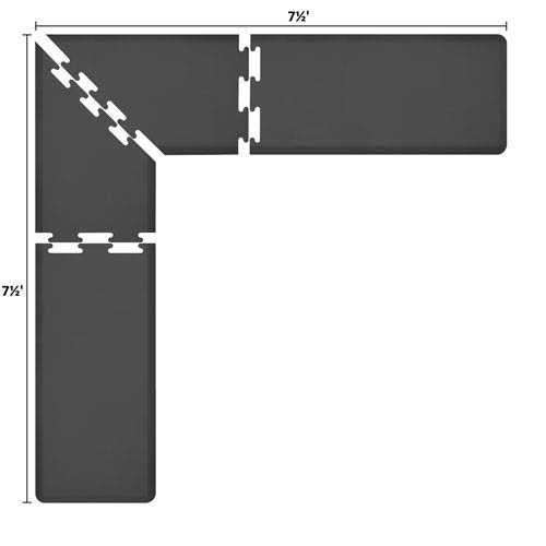 WellnessMatsパズルピースコレクション2足Wide Lシリーズブラック抗疲労7.5 X 7.5足マット   B005EV97GI