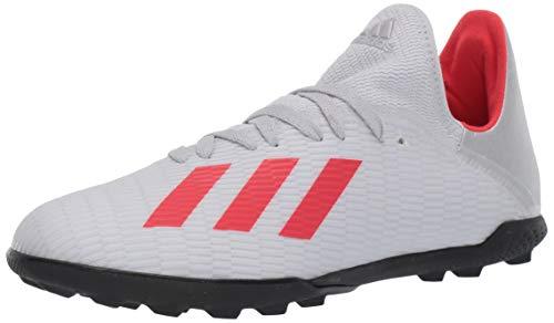 adidas Unisex X 19.3 Turf Soccer Shoe, Silver Metallic/hi-res red/White, 6 M US Big Kid