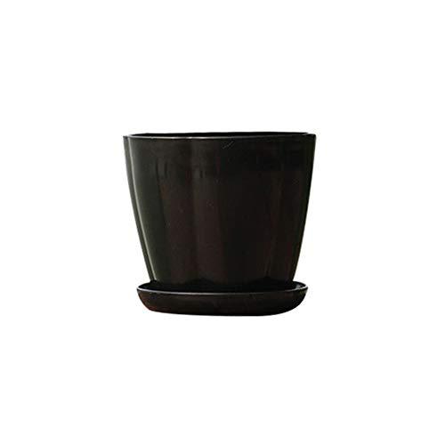(Smallwoodicute Ceramic/Plastic Plant Flower Pot,Pumpkin Shape Plastic Imitation Porcelain Flower Pot Succulent Garden Planter - Black XS)