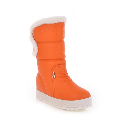 AmoonyFashion Womens Round Closed Toe Low Heels Solid Boots with Bowknot and Metalornament Orange yagTI