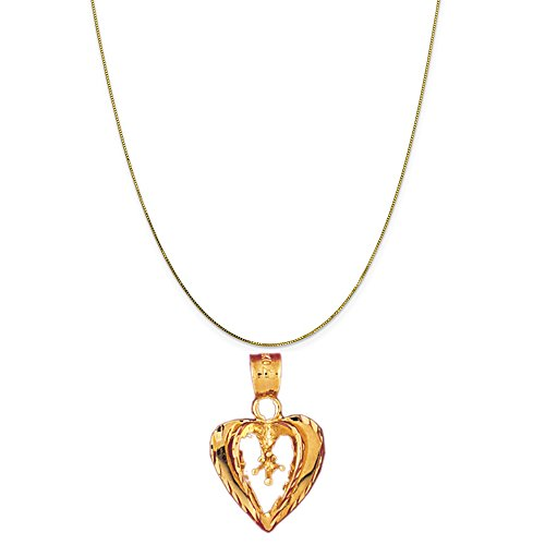 14k Yellow Gold Heart with Mounting Pendant on a 14K Yellow Gold Box Chain Necklace, (14k Yellow Gold Mens Mounting)