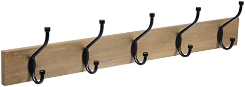 AmazonBasics Wall-Mounted Farmhouse Coat Rack, 5 Standard Hooks, Barnwood]()