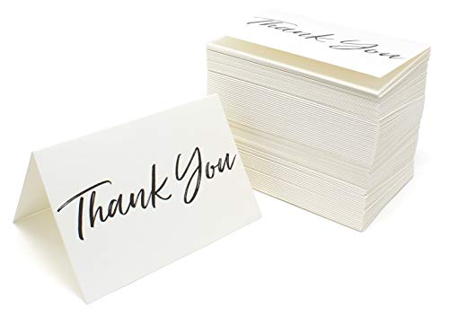 Thank You Cards and Envelopes Black Font White Card Stock - Bulk Box Set of 100 Notes For Weddings Graduations Baby Showers - Thank Cards White You