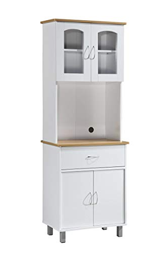 Hodedah Long Standing Kitchen Cabinet with Top amp Bottom Enclosed Cabinet Space One Drawer Large Open Space for Microwave White