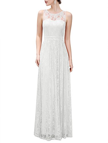 Wedtrend Women's Long Floral Lace Dress Sleeveless Semi-Formal Dress (Ivory Lace Gown)