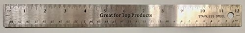 (GTP Metal Ruler Stainless Steel With Slip Cork Base - BULK, inches and metric (1 each 12