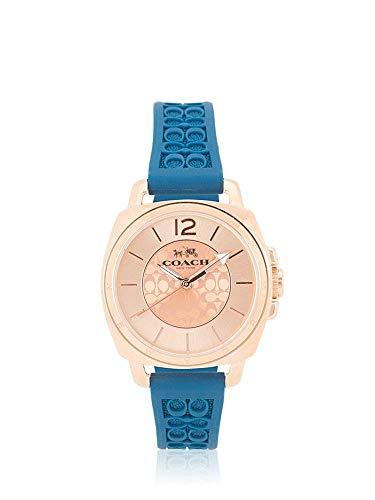 Coach Women s 14502095 Mini Boyfriend Signature Blue Strap Rose Gold Tone Watch