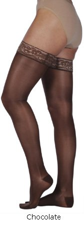 (Juzo Naturally Sheer Compression Thigh High w/Silicone Top Band Open Toe 20-30mmHg, I,)