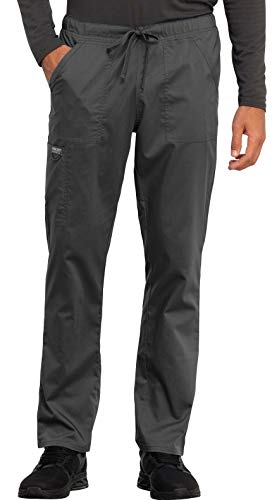 (Cherokee WW Revolution WW020 Unisex Tapered Leg Drawstring Pant Pewter S Tall )
