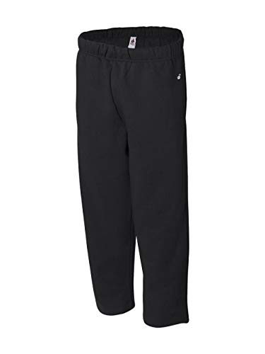 Badger Adult Blended Open-Bottom Fleece Pants (Black) (Small)