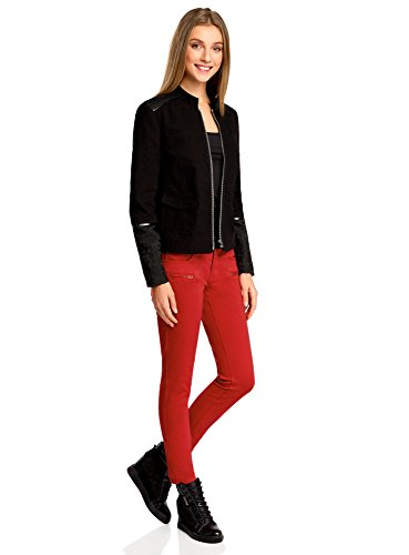 oodji Ultra Mujer Vaqueros Slim Fit de Colores Rojo (4500N)