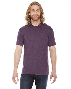 - American Apparel BB401W Unisex Poly-Cotton Short-Sleeve Crewneck Heather Plum 2XL