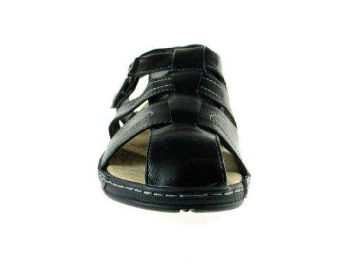 Mens JF1-32 Comfort Walking Fishermen Sandals Black 0IU1rZH