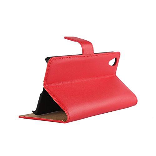 Trumpshop Smartphone Carcasa Funda Protección para Sony Xperia X Compact + Rojo + Ultra Delgada Cuero Genuino Caja Protector con Función de Soporte Ranuras para Tarjetas Crédito Choque Absorción Rojo