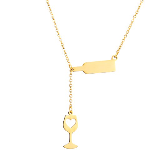 SKQIR Stainless Steel Love Wine Cheers Hollow Heart Pendant Necklace Women's Girl's 18'' Jewelry (Gold)