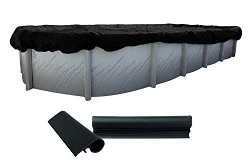 Buffalo Blizzard Deluxe Winter Cover for 18-Foot-by-36-Foot Oval Above-Ground Swimming Pools | Blue/Black Reversible | 3-Foot Additional Material | Wind Guard Clips Included