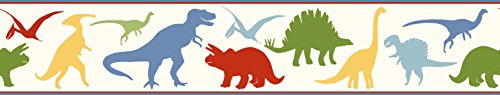 Chesapeake BYR94301B Dino Mighties Dinosaur Toss Wallpaper Border, Red (Dinosaur Wall Border)