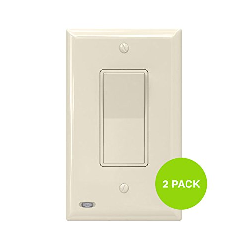 2 Pack SnapPower SwitchLight - Light Switch Cover Plate With Built-In LED Night Light - Add Ambience Lighting To Your Home In Seconds - (Rocker, Light Almond) -