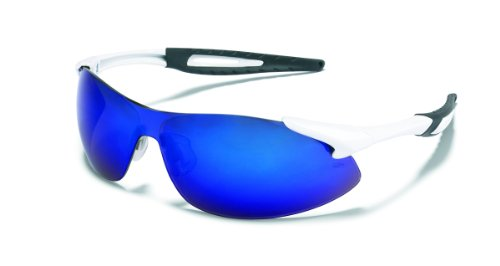 Inertia Safety Glasses, White Frame, Blue Diamond Mirror Lens, One Size, Sold as 1 Each