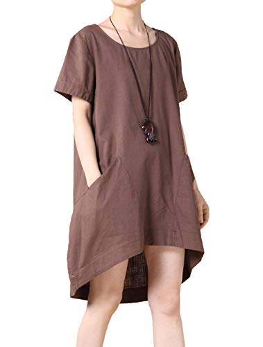 Mordenmiss Women's Cotton Linen Tunic Tops Hi-Low Dresses with Pockets L Brown