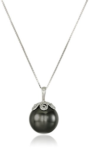 Sterling Silver Black Simulated Shell Pearl Pendant Necklace (13mm)