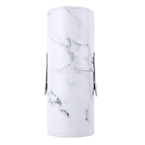 Marble Makeup Brush Holder PU Leather Travelling Portable Cosmetics Makeup Cup Storage Organizer Case Marble by Path Beauty (Image #1)