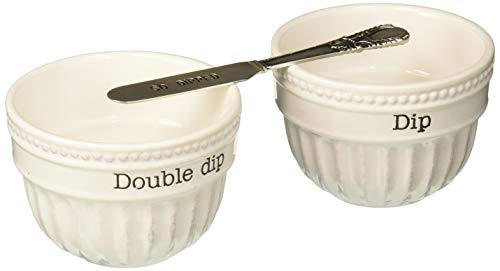 Mud Pie 4851098S Dip Cup Set With Spreader (Set Of 2), One Size, ()