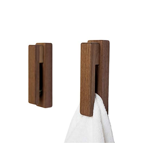 Wood Towel Hooks -Set of 2 Self Adhesive Vintage Towel Hook Wooden Wall Mounted Towel Racks for Bathroom and Kitchen Home Decor- Quick Drying, Reduce Bacterial Growth, Firmly Holds Towel(Walnut)