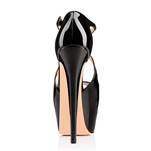 Sandales bride sur Escarpins 1 Noir dessus 2 caché croisée aiguilles Huijie pouces à 6 le Women Beige Taille plateau talons 39 couleur 1 Sun couvert Stiletto avec zAYnWPwFA
